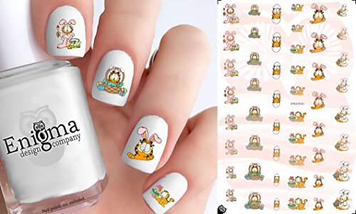 Garfield Easter Nail Decals (Clear -