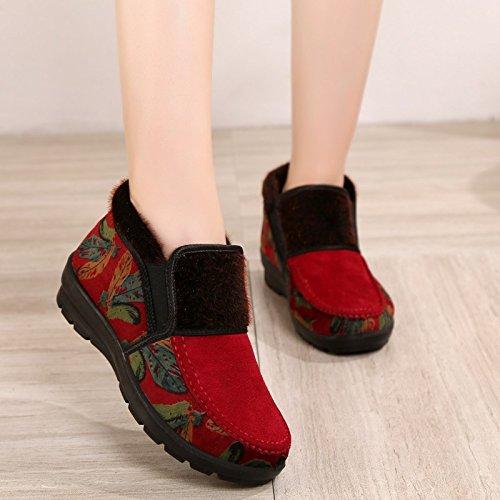 femmes Chaussures Gules Vieilles Mère Âgée Pour Chaudes Chaussures Grand Chaussures En mère Bottes Aider De Chaussures À Glisser Khskx Haut Coton Hiver 5gwxxE1fq