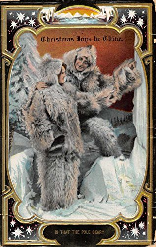 Christmas Greetings Eskimos People in Fur Suits North Pole Postcard -