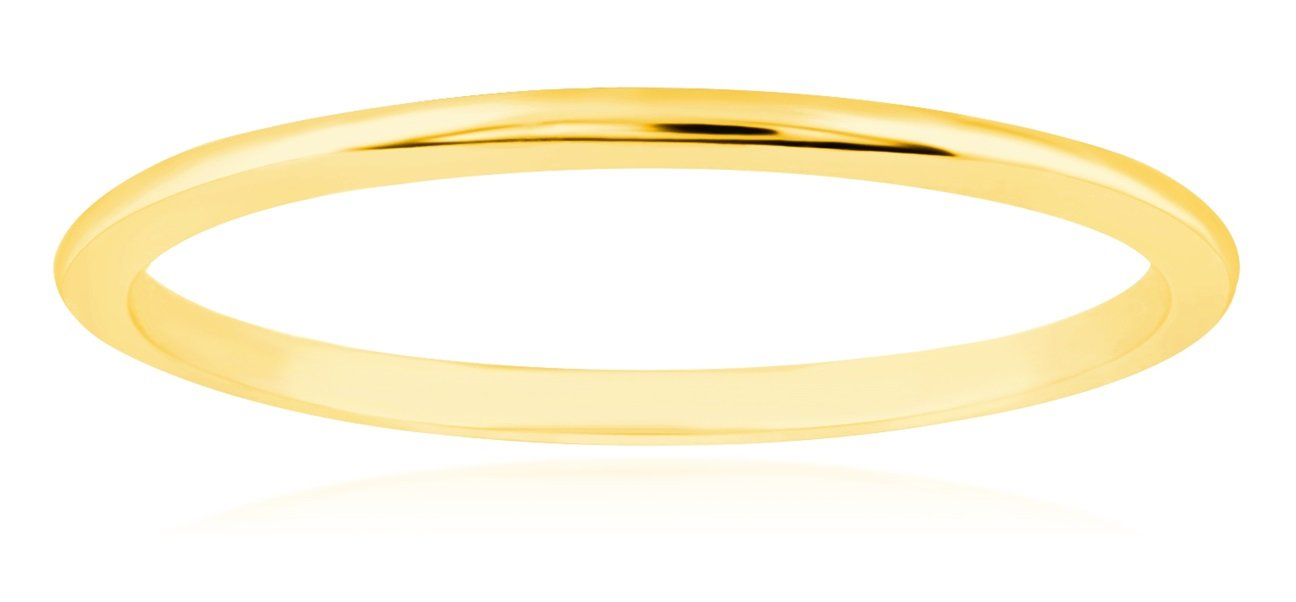 1mm Thin 14k Yellow Gold Wedding Band Ring, Size 6