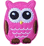 Dosige Cute Cartoon Owl DIY Applique Embroidered Sew Iron on Patches for Kid's Clothes (Pink)