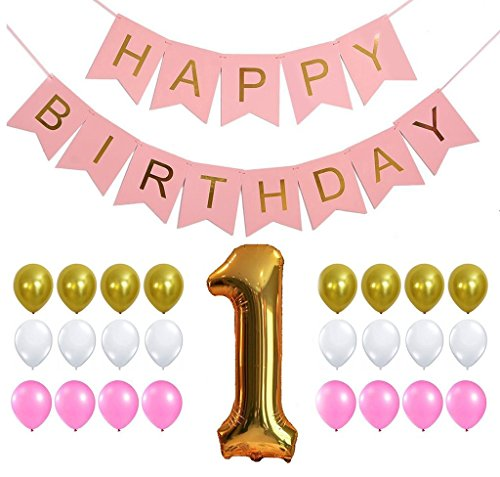 KATCHON FIRST BIRTHDAY GIRL DECORATION SET - Perfect for 1st Bday Party, Pastel and Gold Foiled Happy Birthday Bunting Banner Pink Sign,Gold Number One Balloon, Gold Pink White Balloons Set
