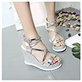Clearance Sale Shoes For Women,Farjing Women's Fashionable Summer Roman High-heeled One-word Button Sloping Heel Shoes(US:7.5,Silver)