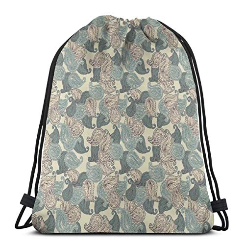 2019 Funny Printed Drawstring Backpacks Bags,Motifs From Persian Culture Teardrop Shape Swirled Tip Oriental Middle East Pattern,Adjustable String Closure -