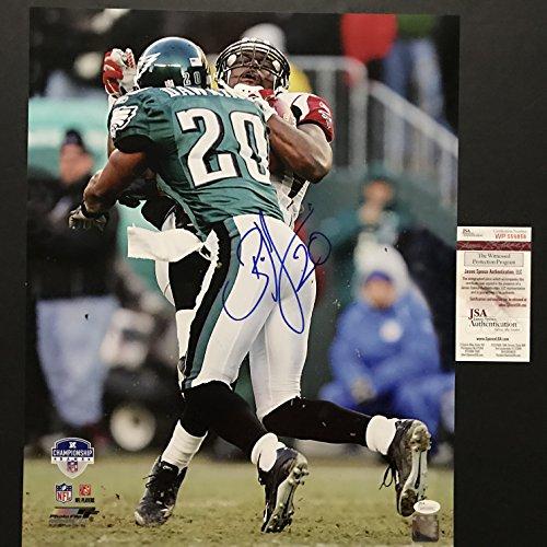 54aa86747bf Autographed/Signed Brian Dawkins Hit vs. Alge Crumpler Philadelphia Eagles  16x20 Football Photo JSA COA