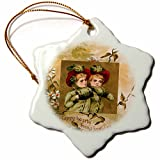 3dRose orn_153214_1 Happy Hearts Bring Joyful Greetings Twin Girls in Green with Red Hats-Snowflake Ornament, 3-Inch, Porcelain