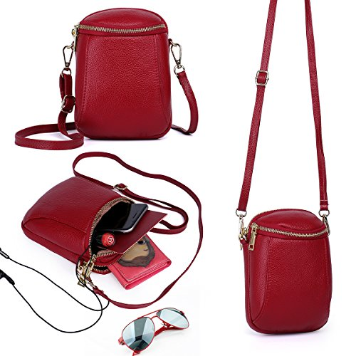 Zg Girls Women 100% Real Leather Small Cute Crossbody Cell Phone Purse Wallet Bag with Shoulder Strap Fits for IPhone 6 6S 7 Plus and Samsung Galaxy S7 Edge S8 Edge - Wine