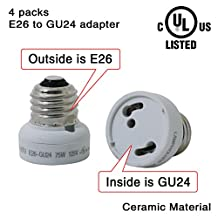 4 Packs,E26 to GU24 adapter,Ceramic Material-high Voltage and High Temperature Resistant (E26 to GU10 adapter)