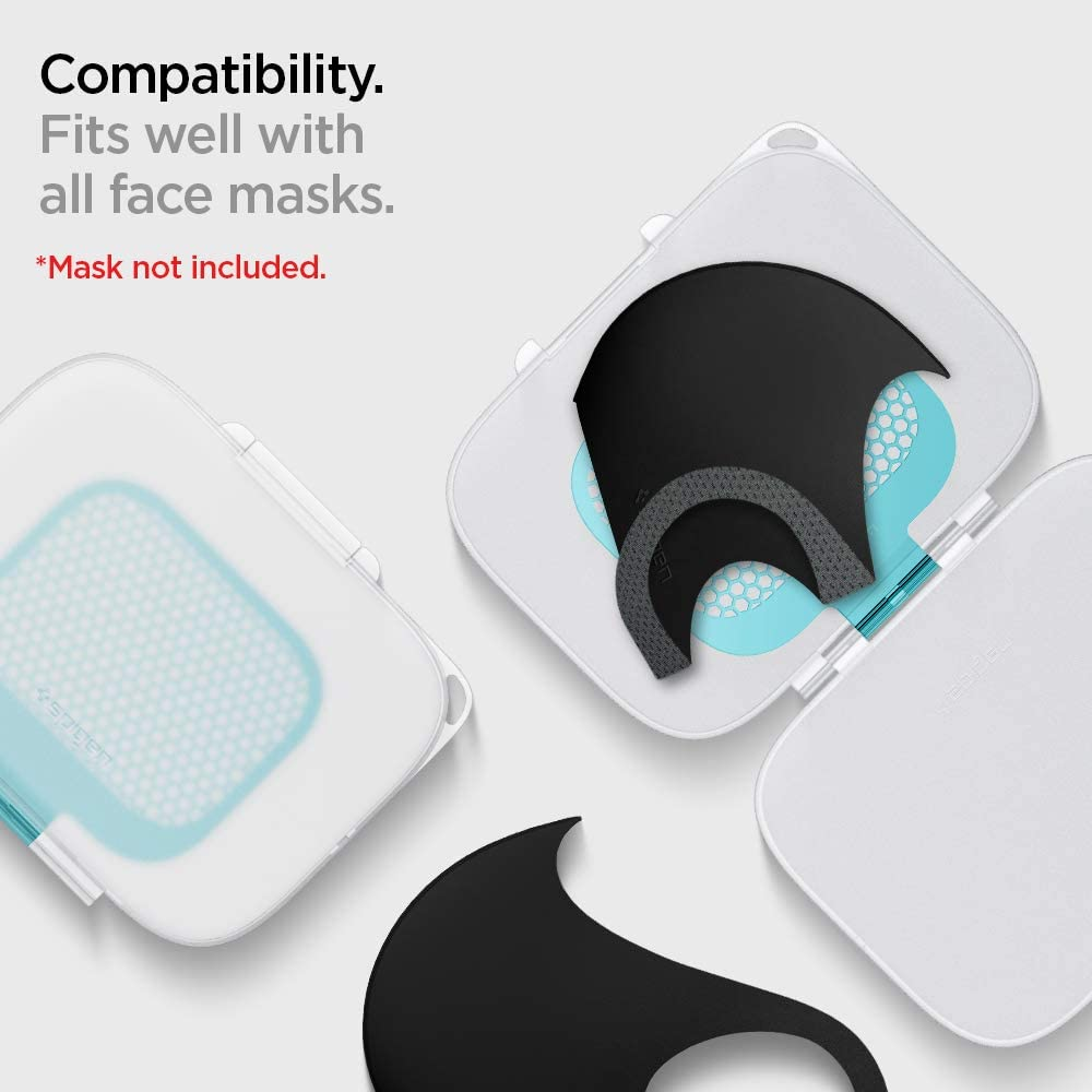 Spigen Mask Case Silver Ion with Car Mount Clip Compatible with All Face Masks Sun Visor /& Back Seat Pocket Detachable Clip Included Silver Armor Mask Case Holder Auto