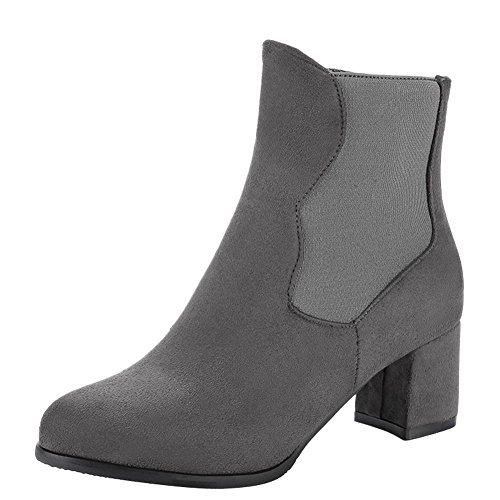 Charm Foot Womens Fashion Zipper Chunky Mid Heel Chelsea Boots Grigio
