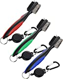 Jetec 3 Pieces Golf Double-sided Cleaning Brush Retractable Zipper Wire Groove Cleaning Tool