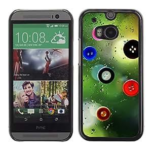 QCASE / HTC One M8 / Botones de arte de diseño vista de la ventana de la moda / Delgado Negro Plástico caso cubierta Shell Armor Funda Case Cover