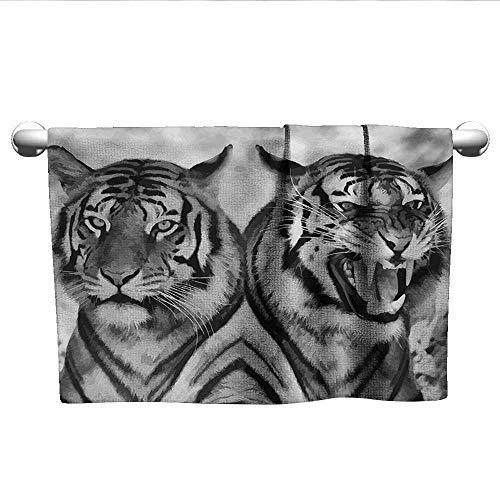 alisoso Safari,Face Towels Child Cat Expression Opposite Images Fearsome Teeth Mirror Angry Intense Wildlife Sports Ttowel Pale Grey Black W 28