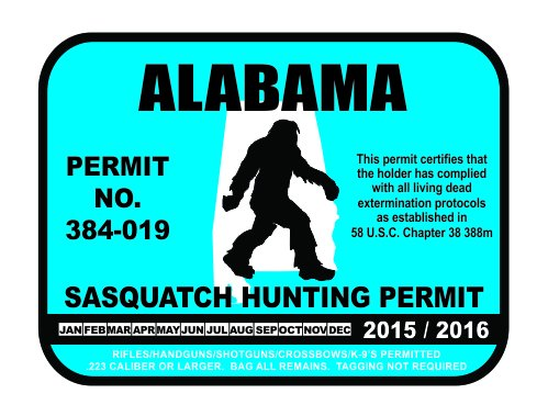 Alabama bigfoot hunting permits bigfoot gifts for Kansas lifetime fishing license