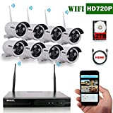 OOSSXX 8-Channel HD 720P Wireless Network/IP Security Camera System(IP Wireless WIFI NVR Kits),8Pcs 1.0 Megapixel Wireless Indoor/Outdoor IR Bullet IP Cameras,P2P,App, HDMI Cord&2TB HDD Pre-install