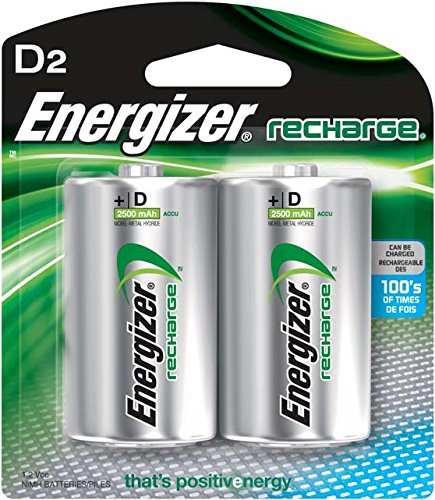 - Energizer Rechargeable D Batteries, NiMH, 2500 mAh, 2 count