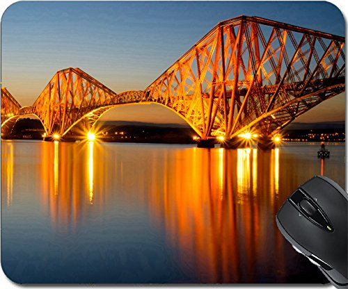 MSD Natural Rubber Mousepad Mouse Pads/Mat design: 30619876 The Forth rail bridge illuminated at dawn