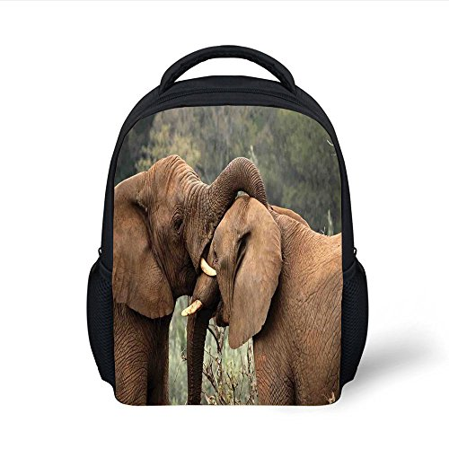 iPrint Kids School Backpack Safari Decor,Two Wild Savanna Elephants Wrestling Cute Nature Icons South African Animals Game Photo,Brown Green Plain Bookbag Travel Daypack by iPrint