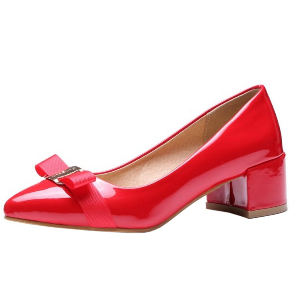 Zanpa Damen Sweet Pumps Mid Heels With Bow33 EU|Red