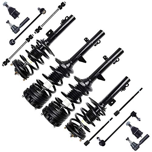 cciyu Complete Suspension Kit Fits 96 97 98 99 00 01 02 03 04 05 06 07 Ford Taurus Includes Front and Rear pair Strut Spring Assembly Tie Rod End Stabilizer Bar Link Kit Ball Joint