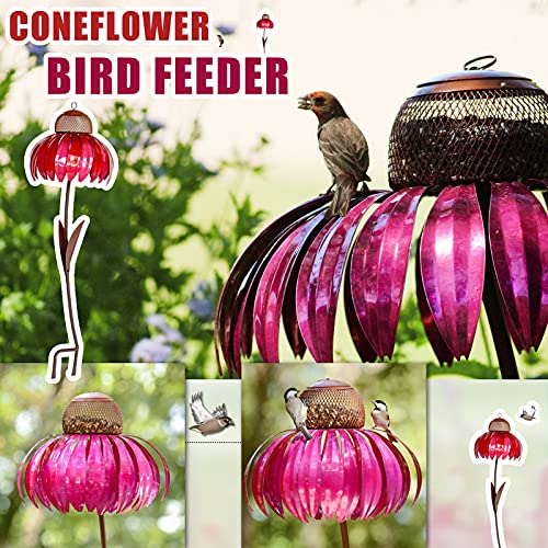 Sensation Pink Flower Bird Feeder Hummingbird Feeder, Unbreakable Feeder,Standing Flower Bird Feeder, Hummingbird Feeder for Lawn Decoration (Pink)
