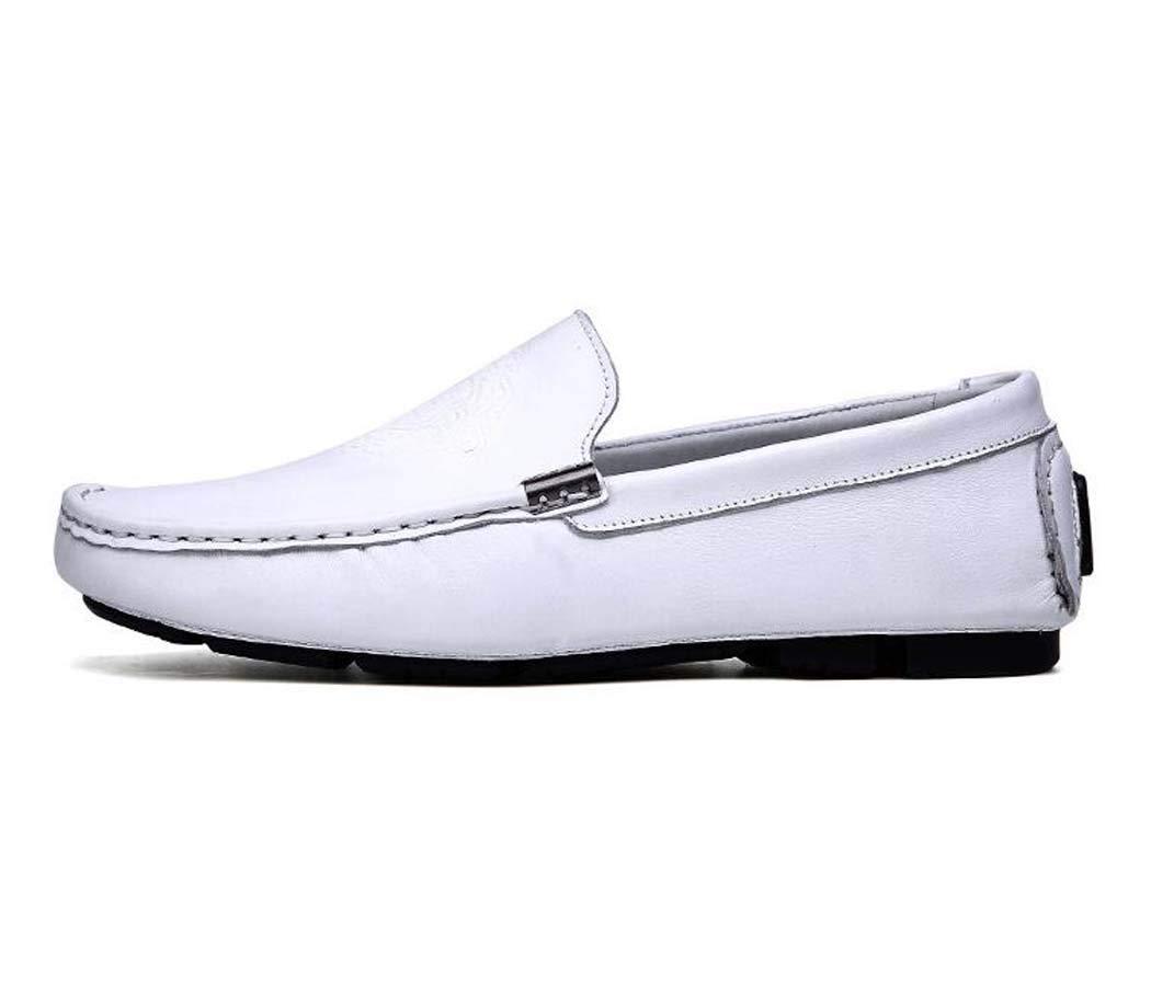 Mocasines para Hombres-Zapatos de Barco-Zapatos de conducción deslizantes-Zapatos de Guisantes-Zapatos Planos 38 EU Blanco