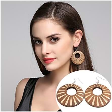 Africa Hollow Wooden Earrings Big Statement Hoop Chandelier Earrings for Women