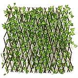 سياج كبير من الأغصان قابل للتوسيع مع نباتات صناعية (ارتفاع 120 سم)