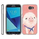 for Samsung Galaxy J7 V / J7 2017 / J7 Perx / J7 Sky Pro/Galaxy Halo Case TPU Non-Slip High Definition Printing Cartoon Pink Pig
