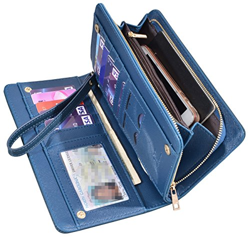 Women Lady Leather Wallet Zipper Purse RFID Credit Card Clutch Holder Case Girl (Crosshath Navy Blue) (Wallet Synthetic Leather Clutch)