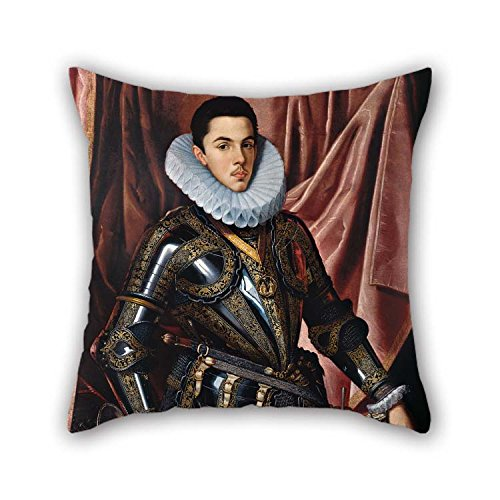 20 X 20 Inches / 50 By 50 Cm Oil Painting Juan Pantoja De La Cruz - Portrait Of Prince Philip Emmanuel Of Savoy Throw Pillow Covers Double Sides Is -