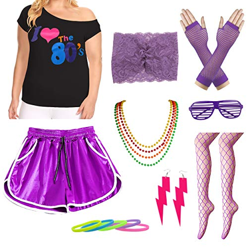 Womens Plus Size I Love The 80s T-Shirt with Shorts Costume Accessory Set (2X/3X, Purple)