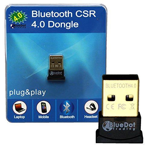 BlueDot Trading Mini Bluetooth Smart Low Energy Dongle Adapter, CSR 4.0 CSR4.0 Compliant, USB 2.0, For Windows 8 7 XP, Laptop Desktop PC