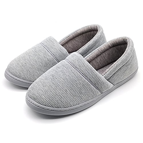 Women's Or Big Girl's Cotton Soft Sole Indoor Slippers Comfort Anti-Slip Spring Summer Autumn House Shoes for Bedroom, Living Room (EU41-42:Women10-11, Gray) ()