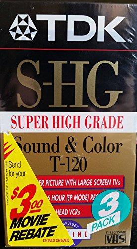 TDK Super High Grade T-120 Video Tapes, 3 Pack