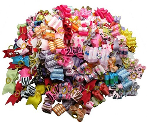 (PET SHOW Small Dogs Hair Bows With Rubber Bands Cat Puppy Customes Hair Grooming Accessories Assorted Colors Bulk Pack of 50)