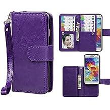 Samsung Galaxy S5 Case,xhorizon TM SR Premium Leather Folio Case[Wallet Function][Magnetic Detachable]Wristlet Lanyard Flip Book Style Multiple Card Slots Case for Samsung Galaxy S5 (i9600)- Purple