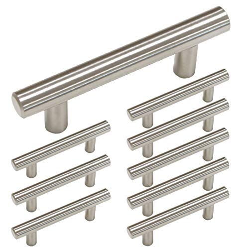 homdiy Brushed Nickel Cabinet Handles 10 Pack 3 in Hole Center Metal Drawer Pulls and Knobs - HD201SN Modern Cabinet Pulls Brushed Nickel Cabinet Hardware Pulls for Kitchen, Bathroom, Closet