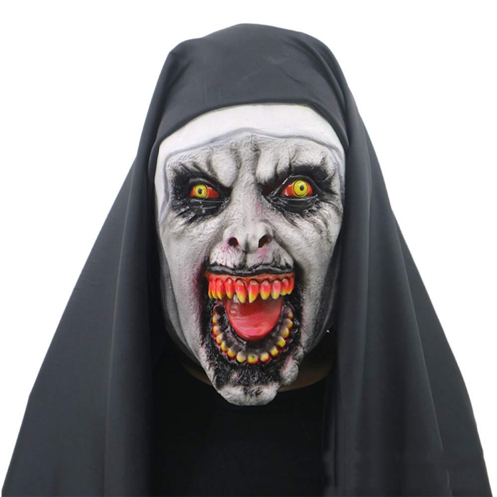 QQWE Máscara De Fantasmas Femenina De Halloween Monja De Terror Máscara De La Cabeza De La Muerte De Miedo Máscaras Espectáculo De Vestuario Prop Látex, A-OneSize MMBNC