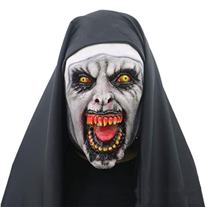 QQWE Máscara De Fantasmas Femenina De Halloween Monja De Terror Máscara De La Cabeza De La