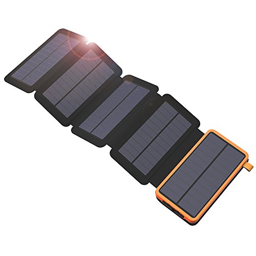 X-DRAGON Solar Charger, 20000mAh Solar Charger Power Bank with 5 Solar Panels, Dual USB, LED Flashlight Waterproof Portable External Compatible with iPhone, Cell Phones, ipad and More-Orange by X-DRAGON