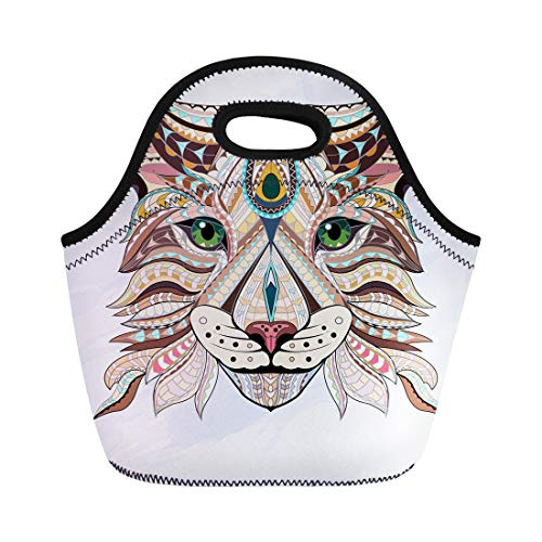 Semtomn Neoprene Lunch Tote Bag Patterned Head of Lynx Wild Cat Color Doodle Animal Reusable Cooler Bags Insulated Thermal Picnic Handbag for Travel,School,Outdoors,Work