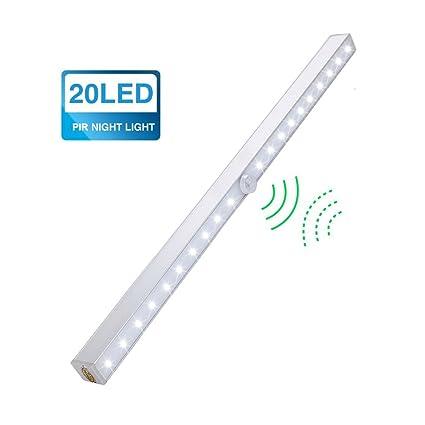Sensor de Movimiento Armario Luz, 20 LEDs Wireless Luces de Noche Inalámbrico Movimiento Activado Instantáneo