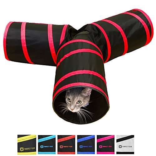 Fuser Board Supply Power - Purrfect Feline Tunnel of Fun, Collapsible 3-way Cat Tunnel Toy with Crinkle (Medium, Red)