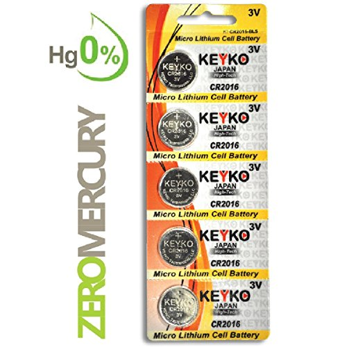 CR2016 Battery - 5 pcs Pack - 3V Lithium Buttom Coin Cell Battery Type 3.0 Volt: 2016 DL2016 ECR2016 Genuine KEYKO Supreme High Energy