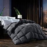 L LOVSOUL Queen Comforter,Goose Down Comforter All Season Duvet Insert with Corner Tabs,Grey Comforter 100% Egyptian Cotton 1200 Thread Count 700+Fill Power(90x90inches)