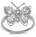 Adorable Clear Cz Butterfly Design .925 Sterling Silver Ring Sizes 5-11