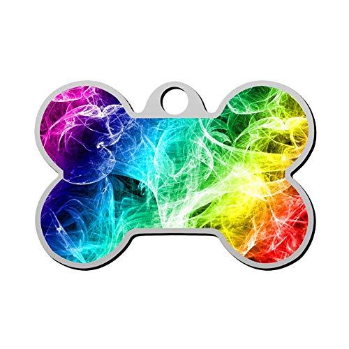 Qeksow Customizable Cat Dog ID Tags, Neon Rainbow Smoke Light Personalized Double Sided Printed Pet Information Collar