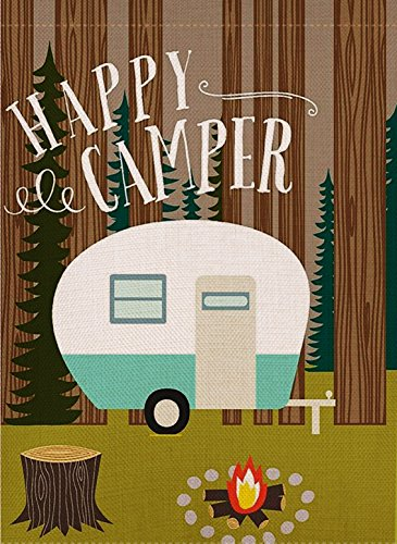 Dyrenson Home Decorative Happy Camper Garden Flag Double Sid