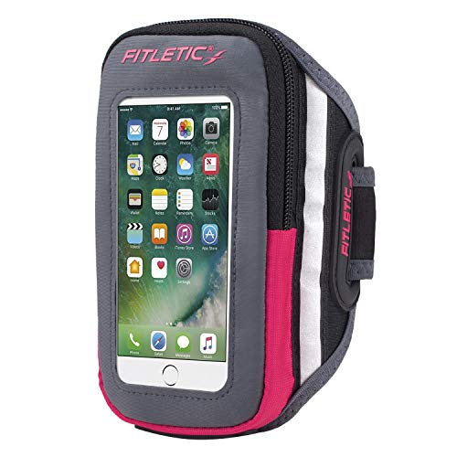 Fitletic Running Armband Gray & Pink S/M - Forte - Gray Sports Armband